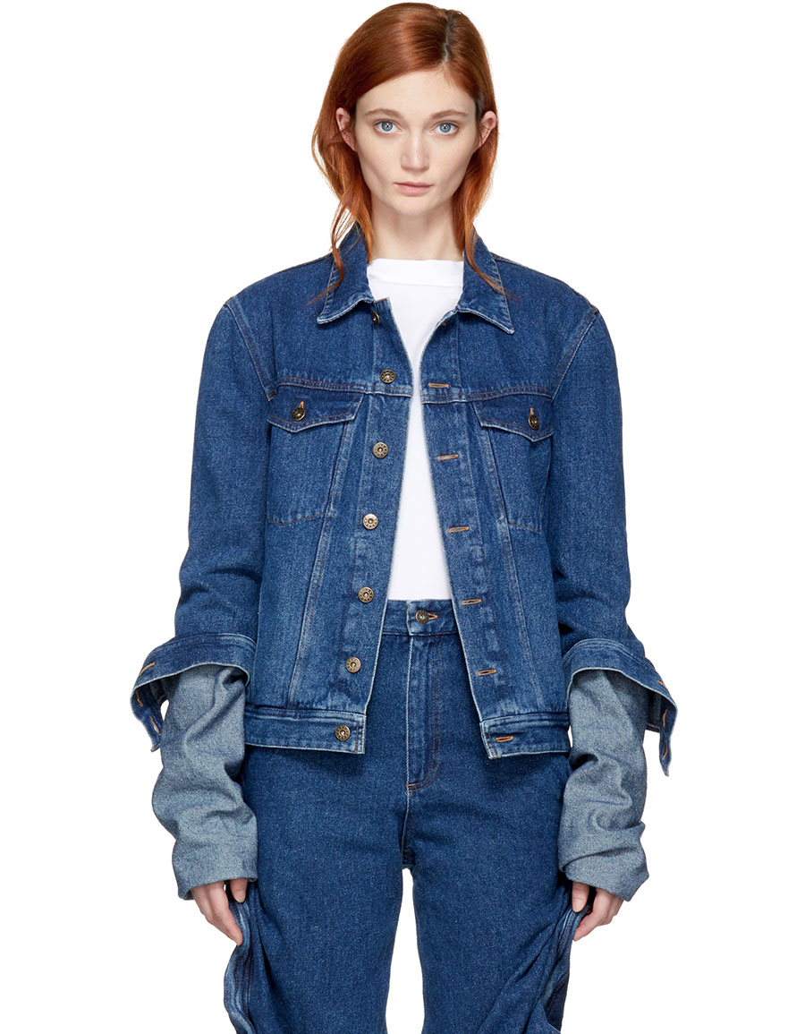 largest selection of 2019 where can i buy best selection of 2019 Y/PROJECT, Navy Denim Extra Long Sleeve Jacket