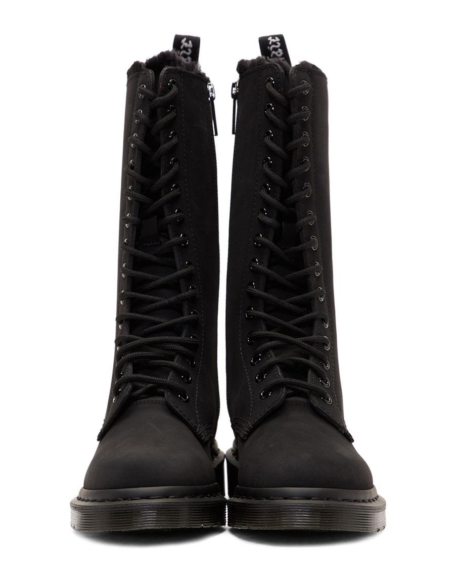 DR. MARTENS Black Suede Fur Lined 14 Eye Boots
