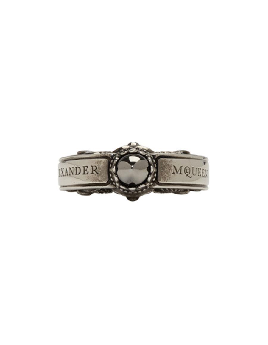 ALEXANDER MCQUEEN Silver Engraved Skull Ring