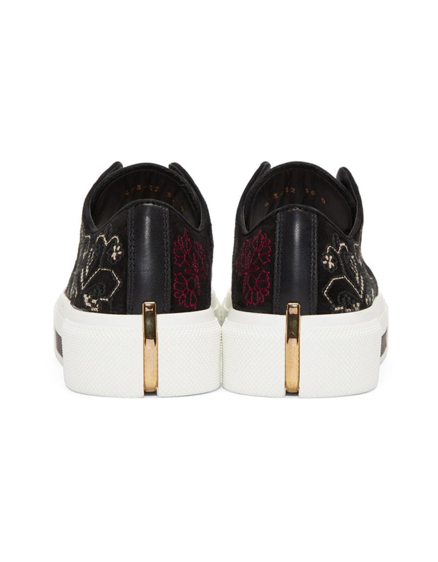 ALEXANDER MCQUEEN Black Suede Cupsole Sneakers