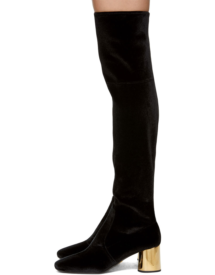 Prada Black Amp Gold Square Over The Knee Boots 183 Vergle