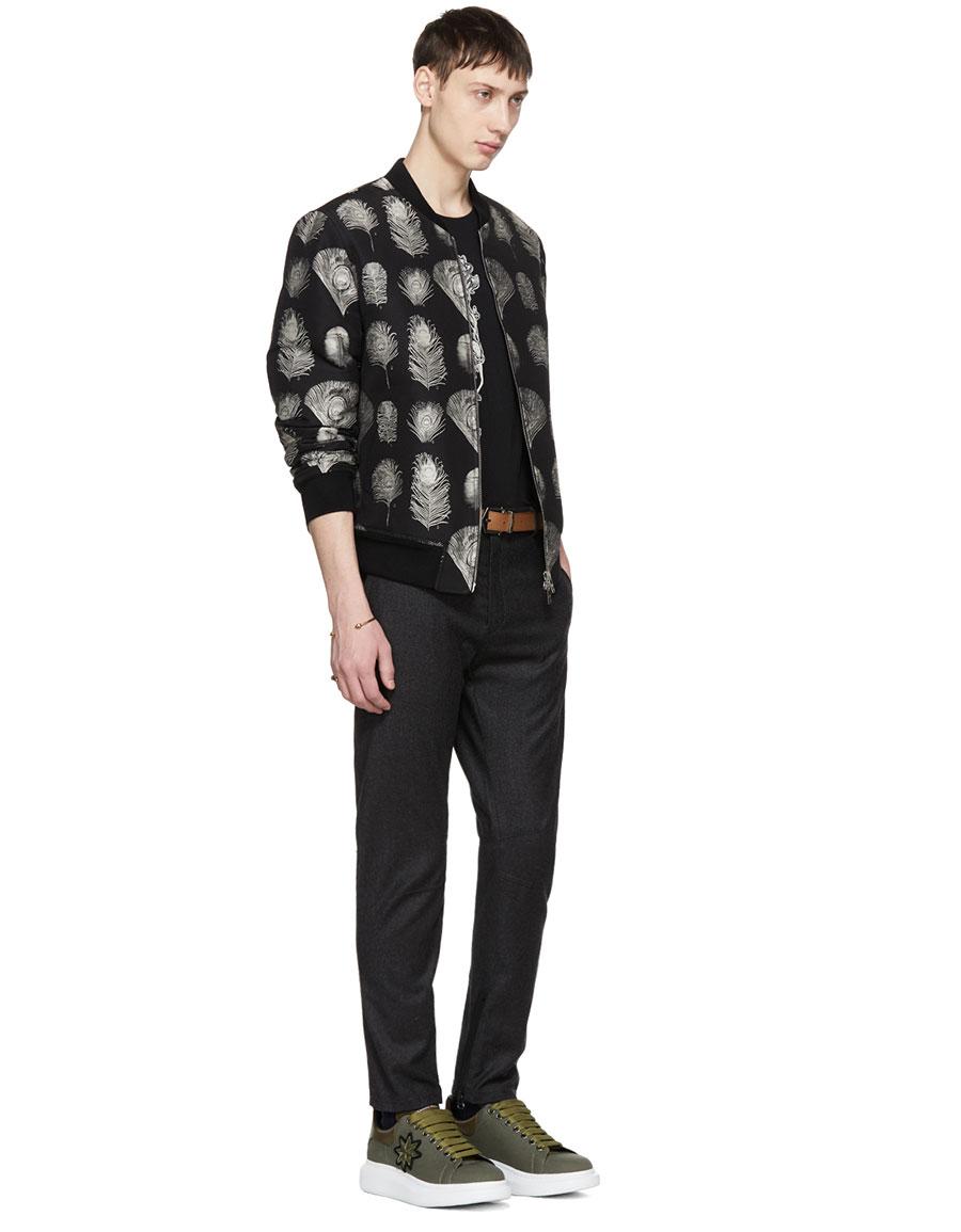 ALEXANDER MCQUEEN Black Embroidered Skull T Shirt