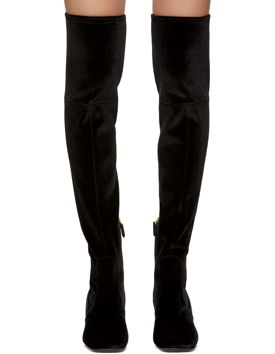 most popular new arrivals quality design PRADA Black & Gold Square Over-the-Knee Boots · VERGLE