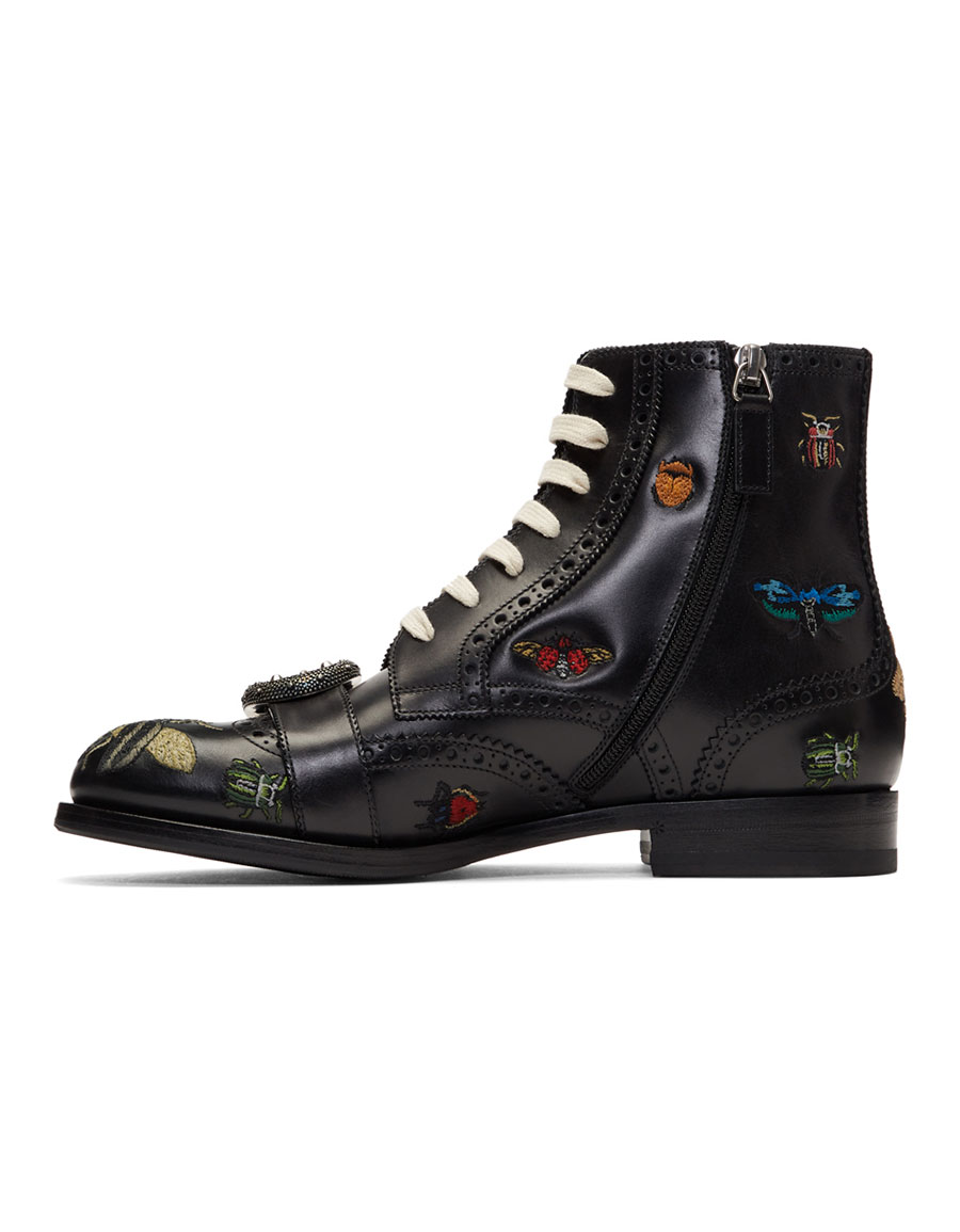 GUCCI Black Queercore Insect Brogue