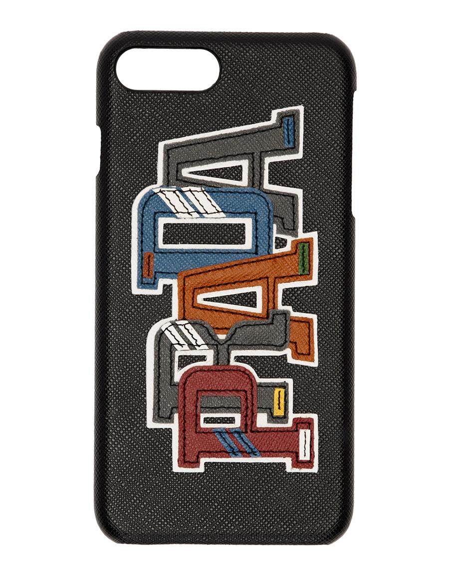 PRADA Black Saffiano Character Logo iPhone 7 Plus & 8 Plus Case