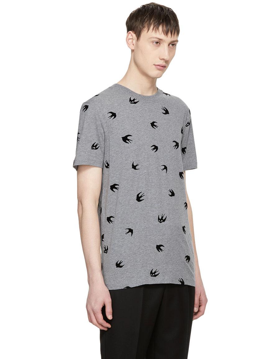 ALEXANDER MCQUEEN Grey & Black Swallow T Shirt