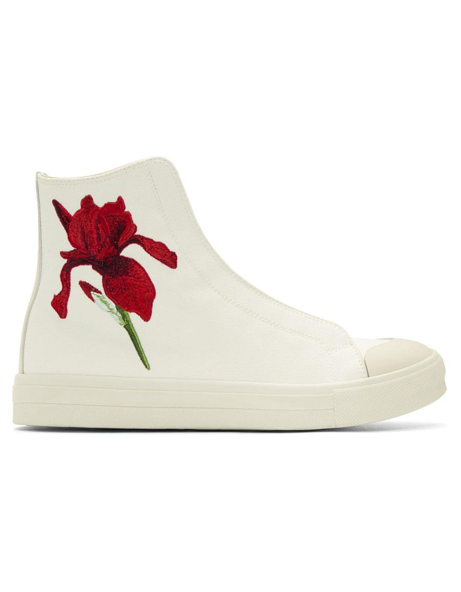 ALEXANDER MCQUEEN Off White Iris High Top Sneakers