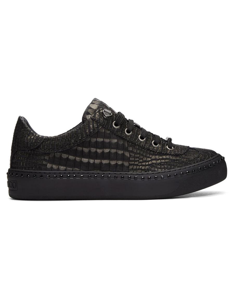 JIMMY CHOO Black Croc Crystal Ace