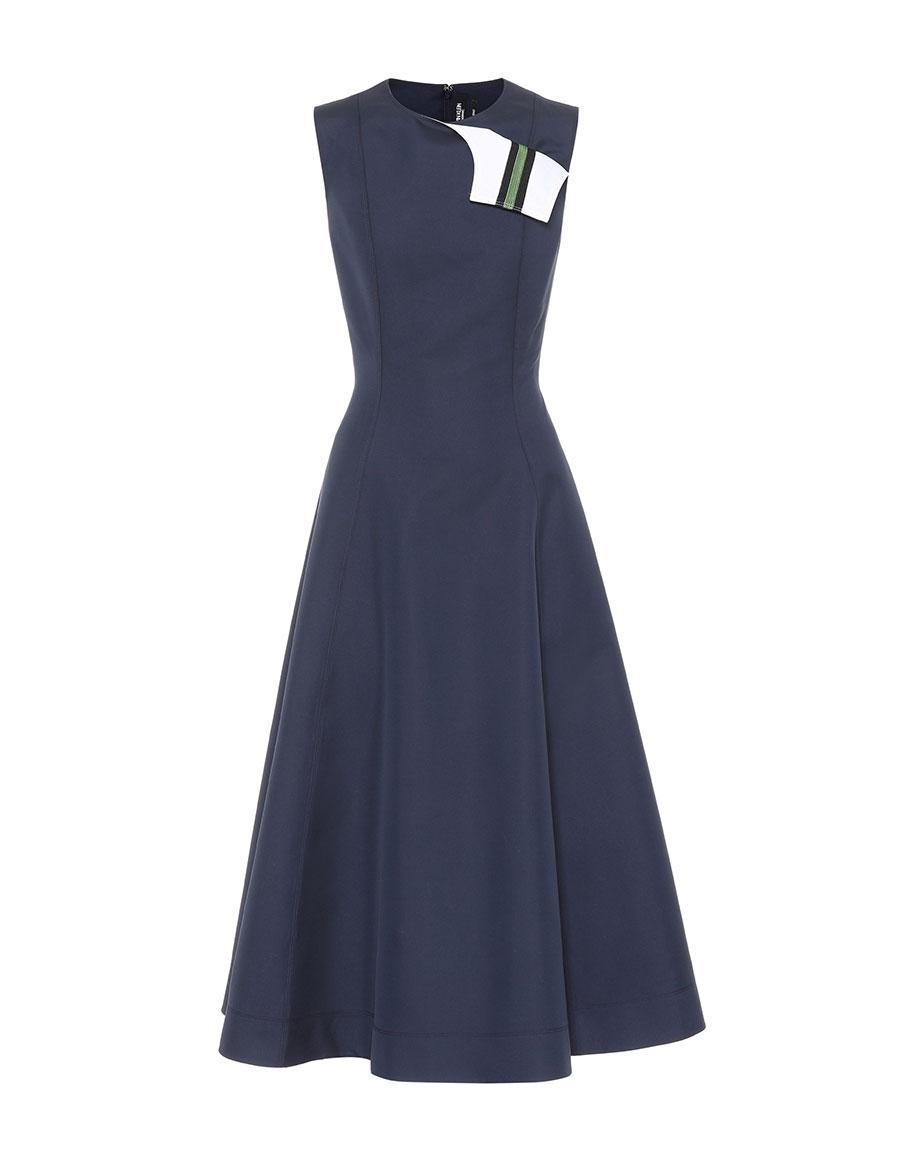 CALVIN KLEIN Cotton and silk A line dress