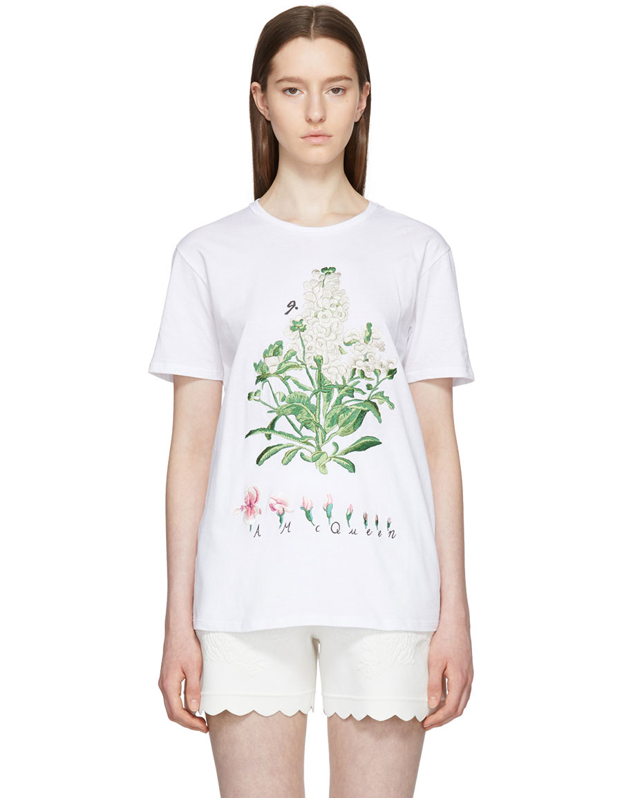 ALEXANDER MCQUEEN White Embroidered Botanical T Shirt