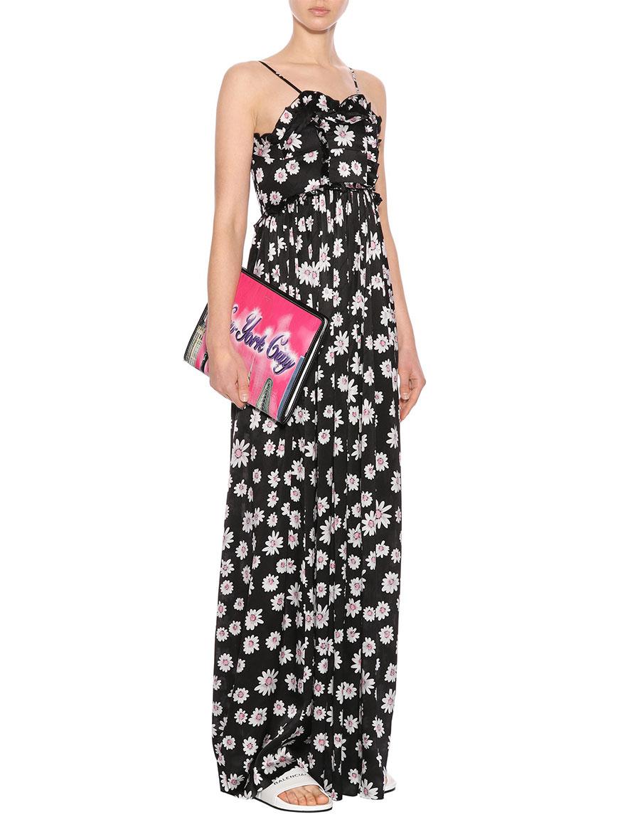 BALENCIAGA Floral printed silk jacquard dress