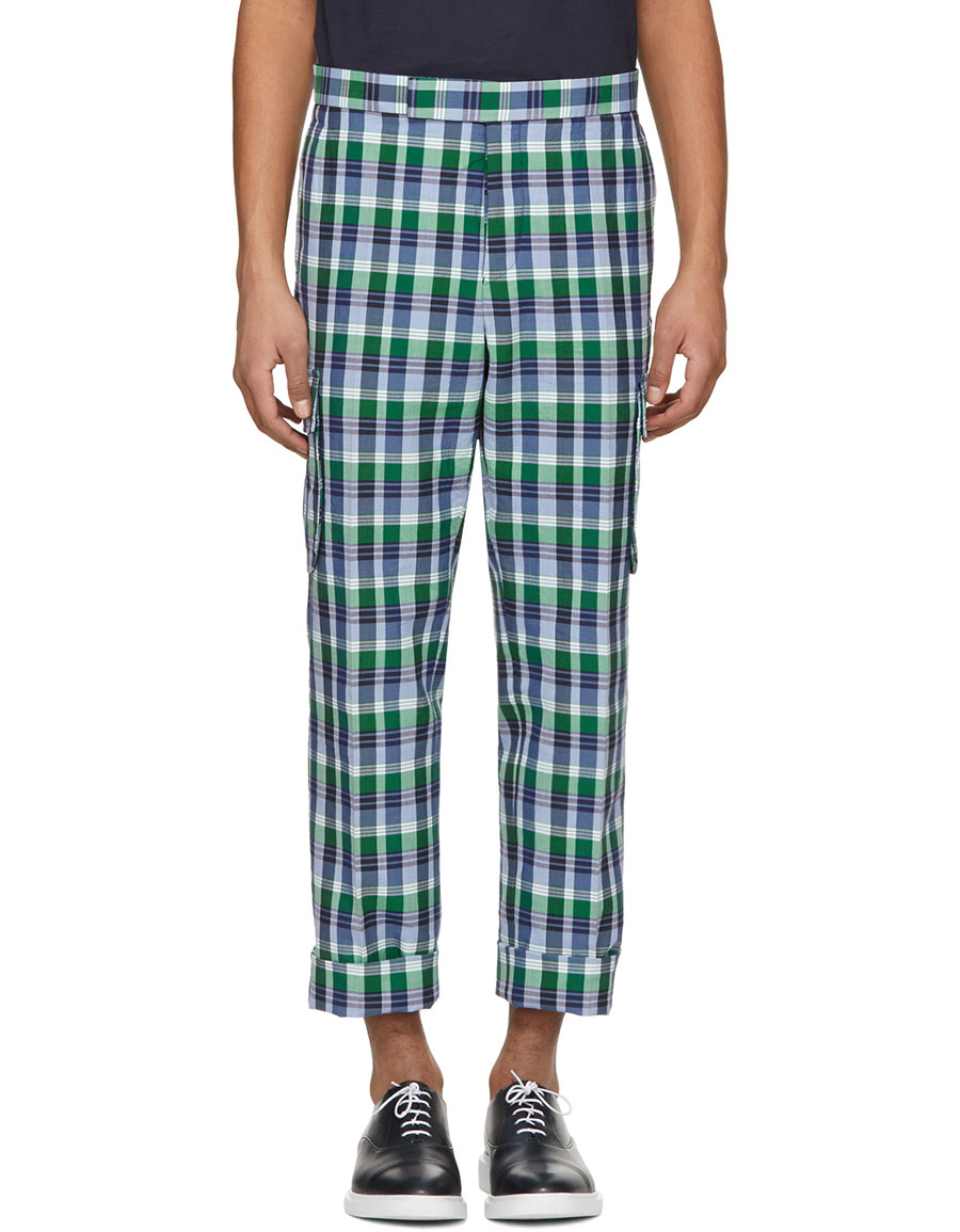 THOM BROWNE Blue Madras Gusseted Patch Pocket Trousers