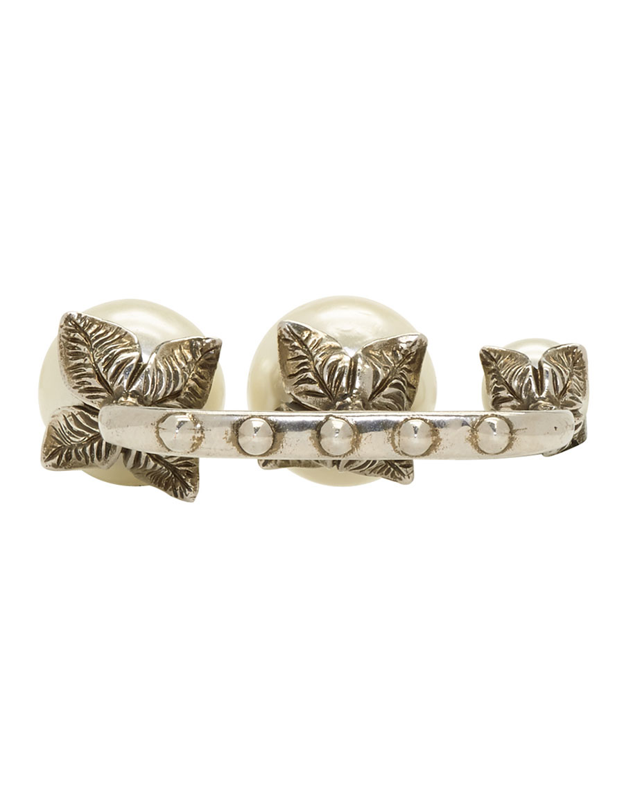 GUCCI Silver Three Pearl Multi Finger Ring