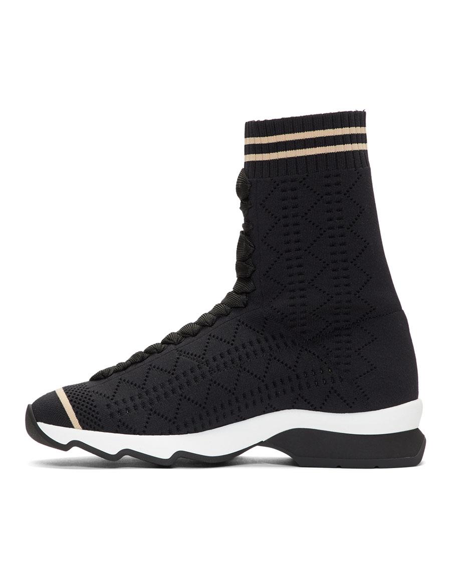 FENDI Black Pearl Sock High Top Sneakers