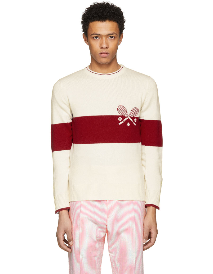 THOM BROWNE Red & White Tennis Knit Sweater