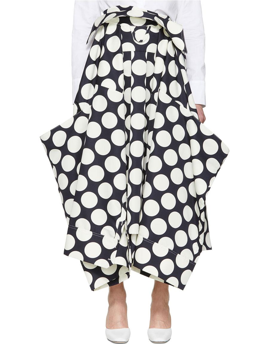 A.W.A.K.E. Navy & Off White Giant Polka Dot Skirt