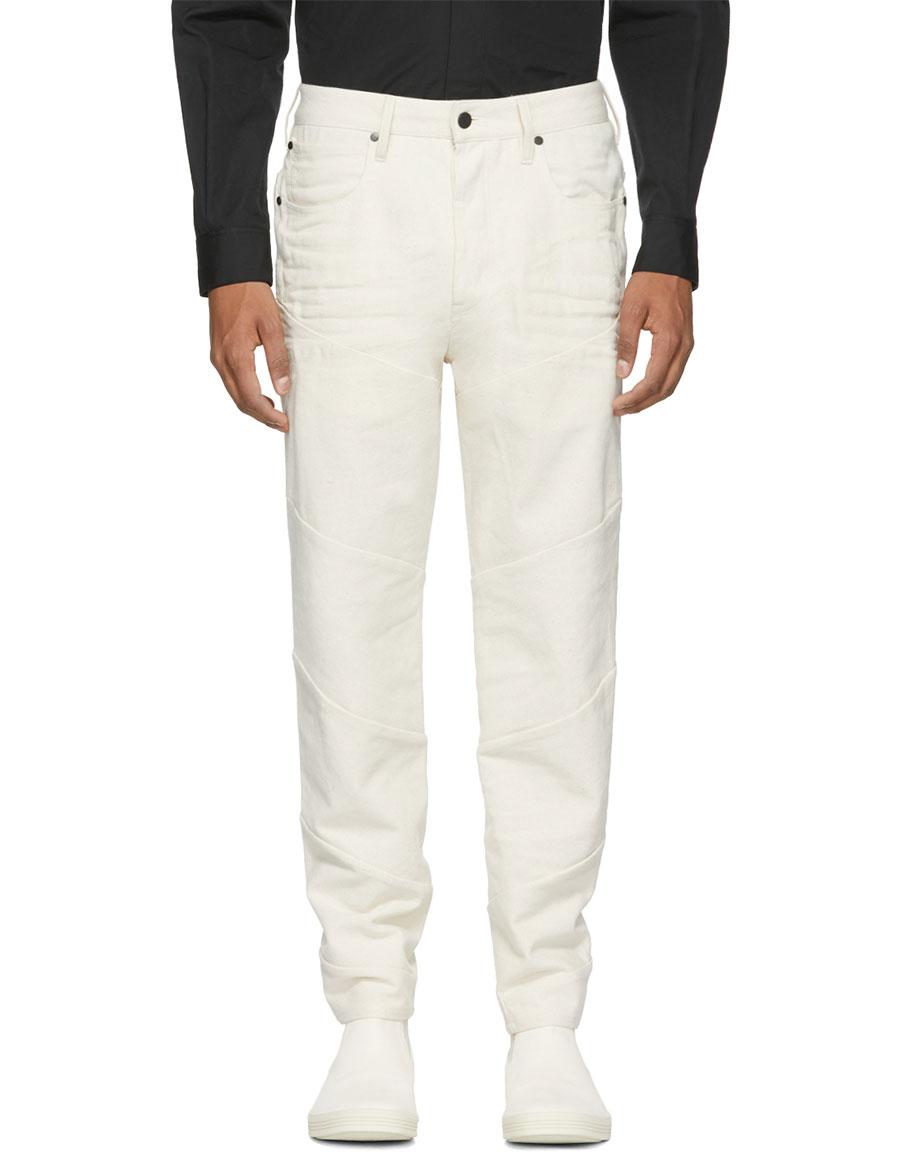 RAW RESEARCH Beige Spiraq 3D Slim Jeans