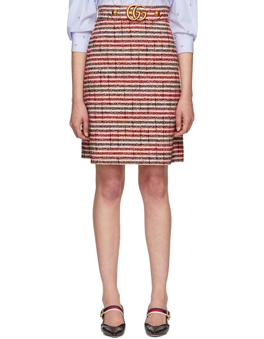 GUCCI Red GG Buckle Miniskirt