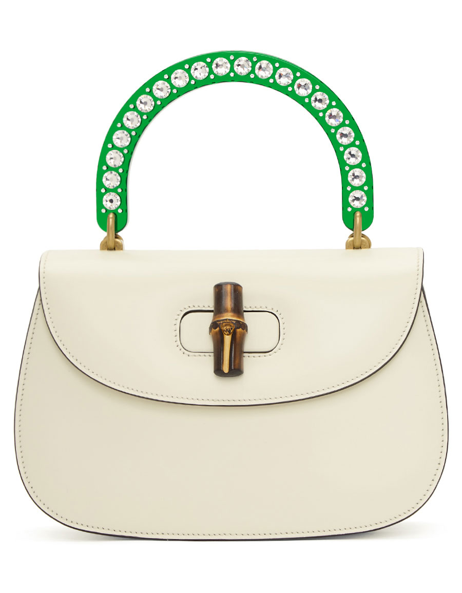 GUCCI White Medium Borsa Bamboo Bag