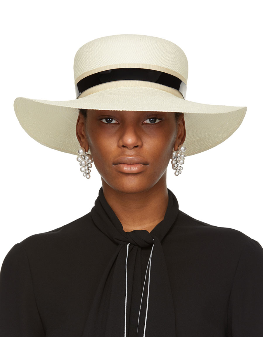 LANVIN Ivory Straw Capeline Hat