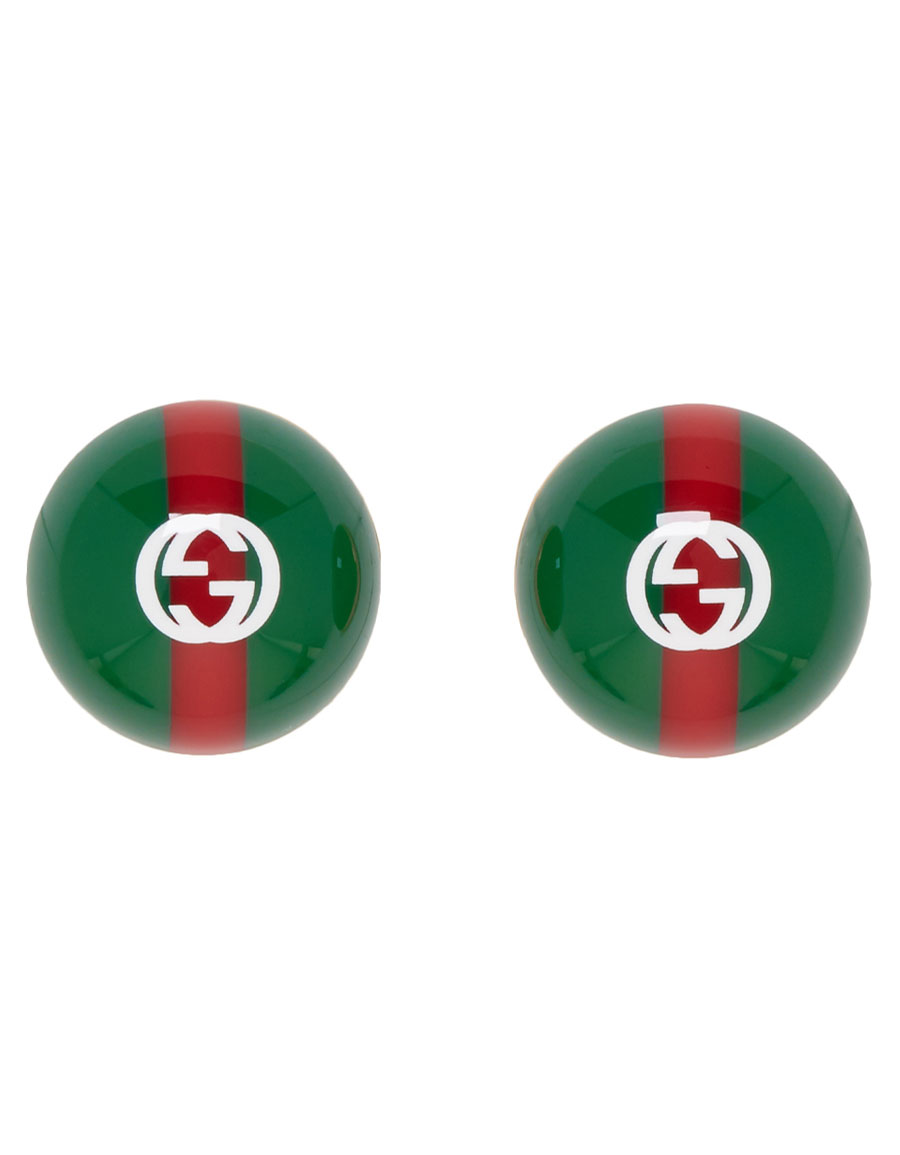 GUCCI Green & Red Web Earrings