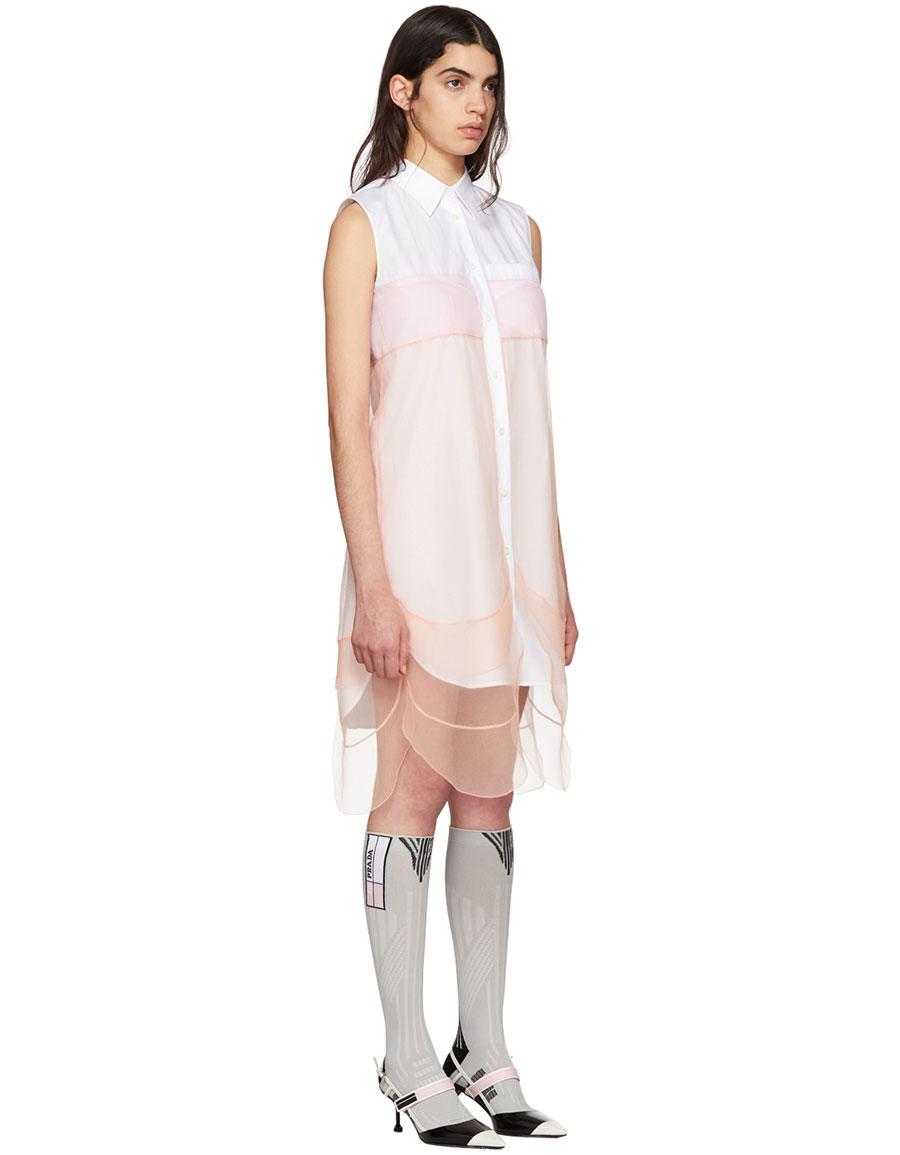 PRADA White & Orange Sleeveless Chiffon Dress