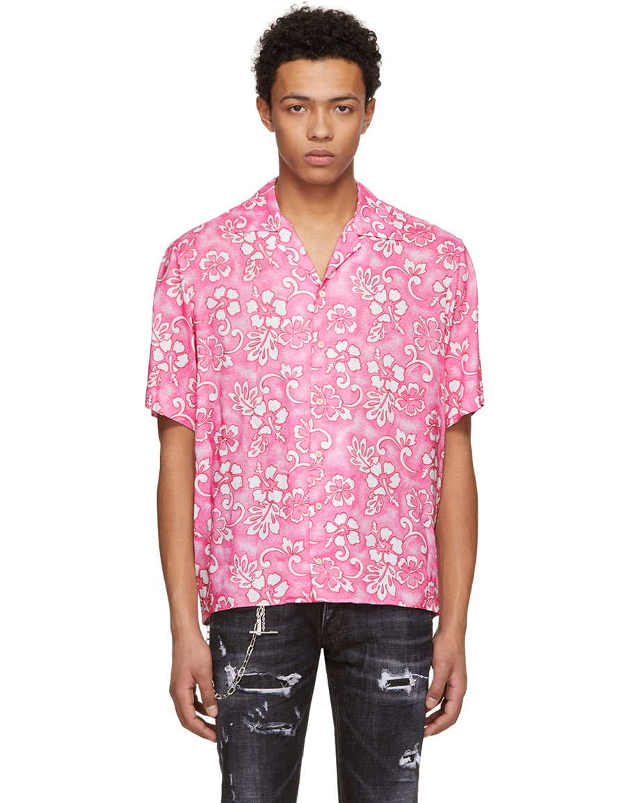 DSQUARED2 Pink Short Sleeve Hibiscus Box Out Shirt