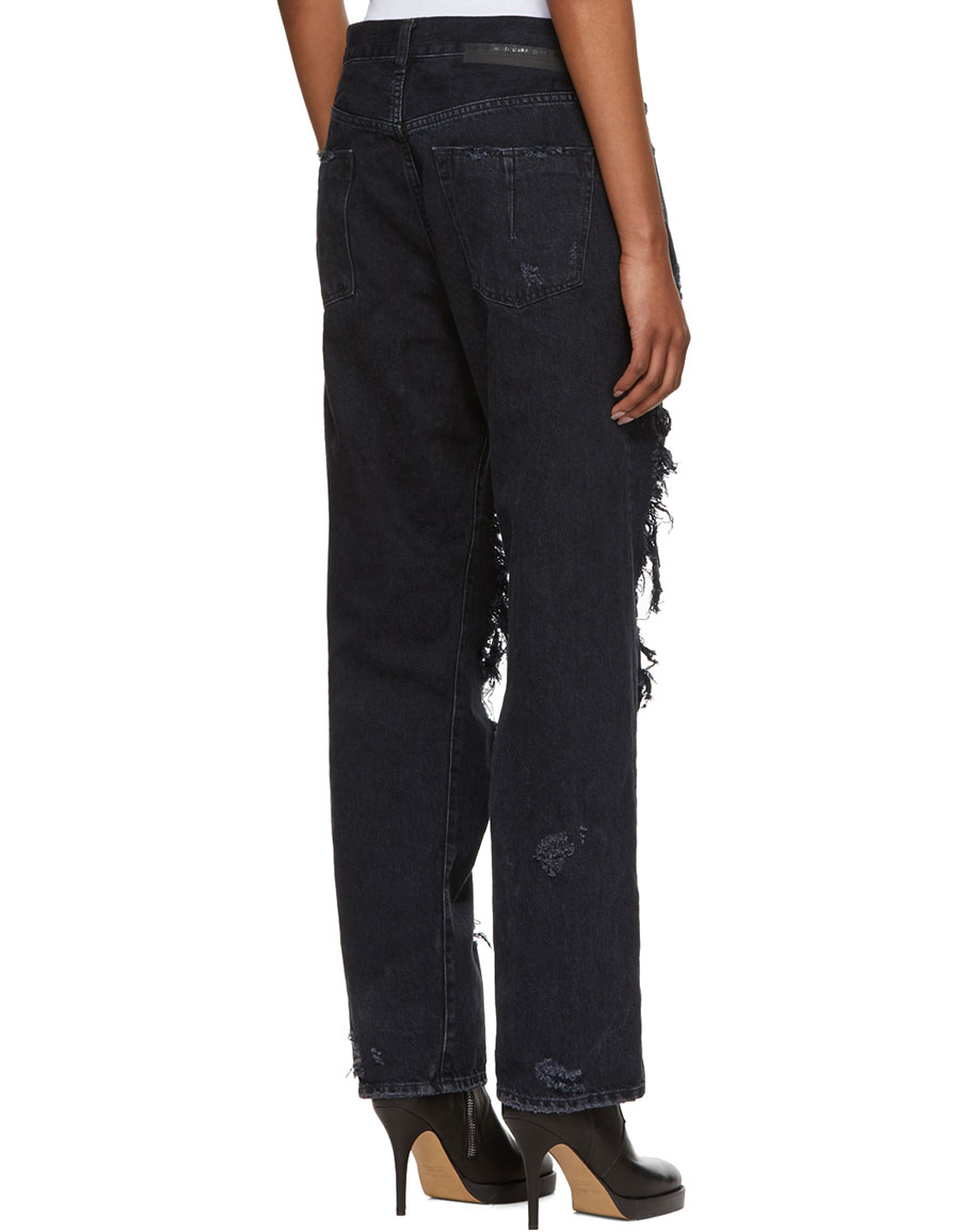 UNRAVEL Black Destory Baggy Jeans