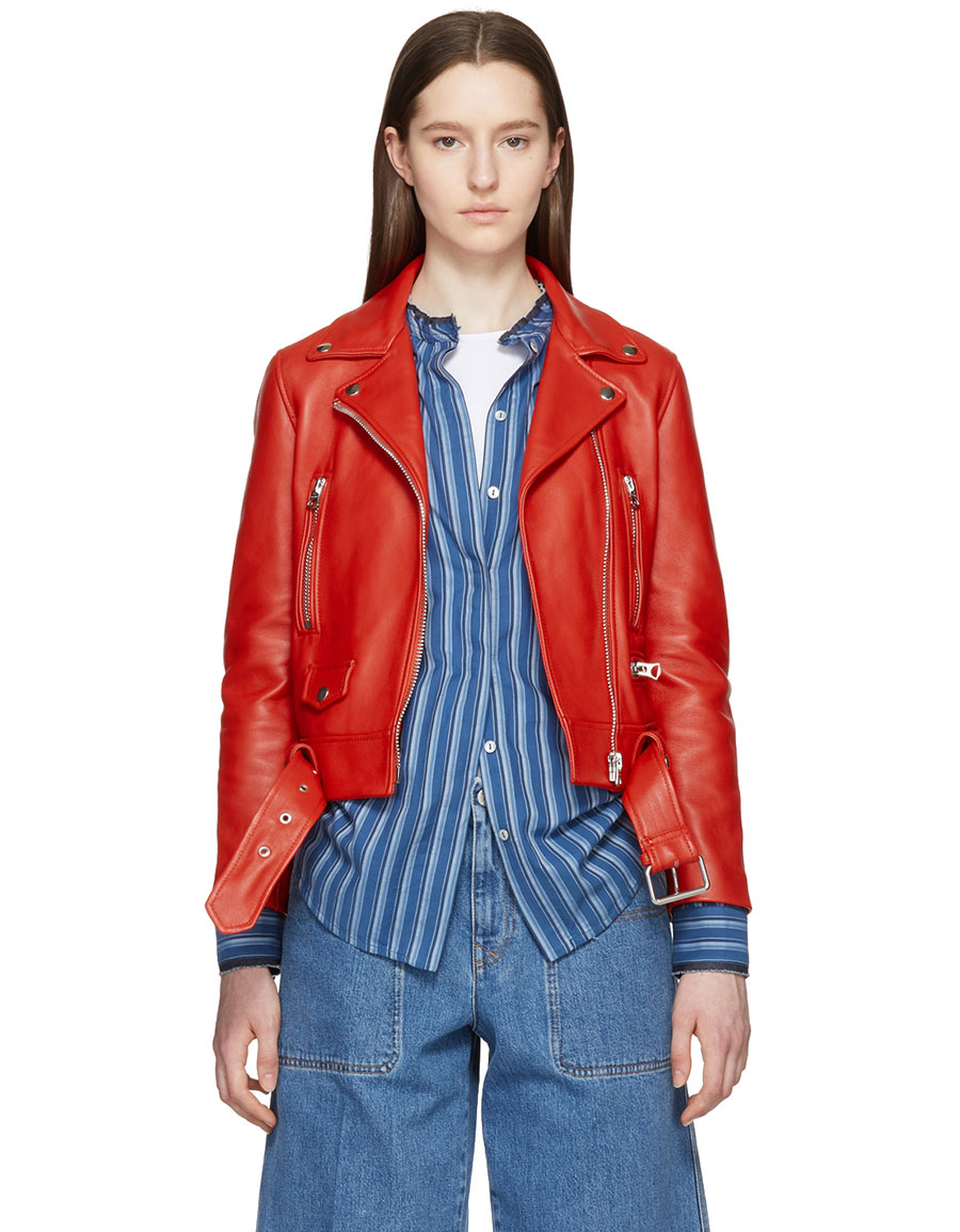 ACNE STUDIOS Red Leather Mock Jacket