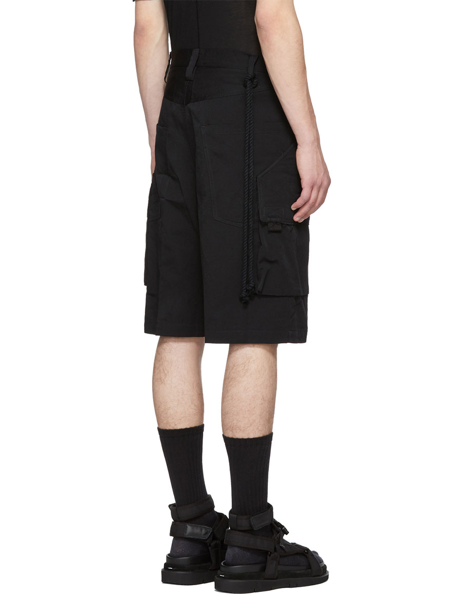 SONG FOR THE MUTE Black Bucket Cargo Shorts