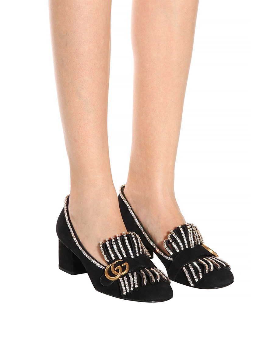 GUCCI Embellished suede loafer pumps