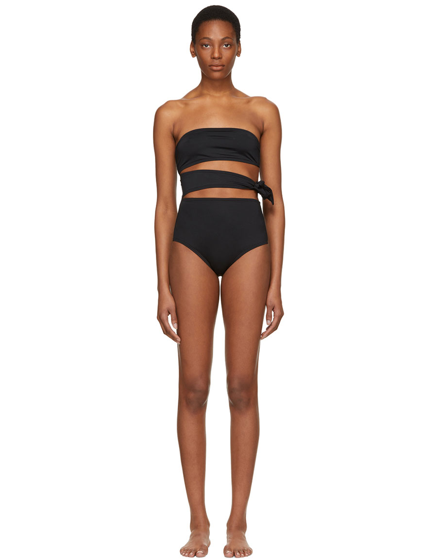 PROENZA SCHOULER Black Bandeau Side Tie Swimsuit