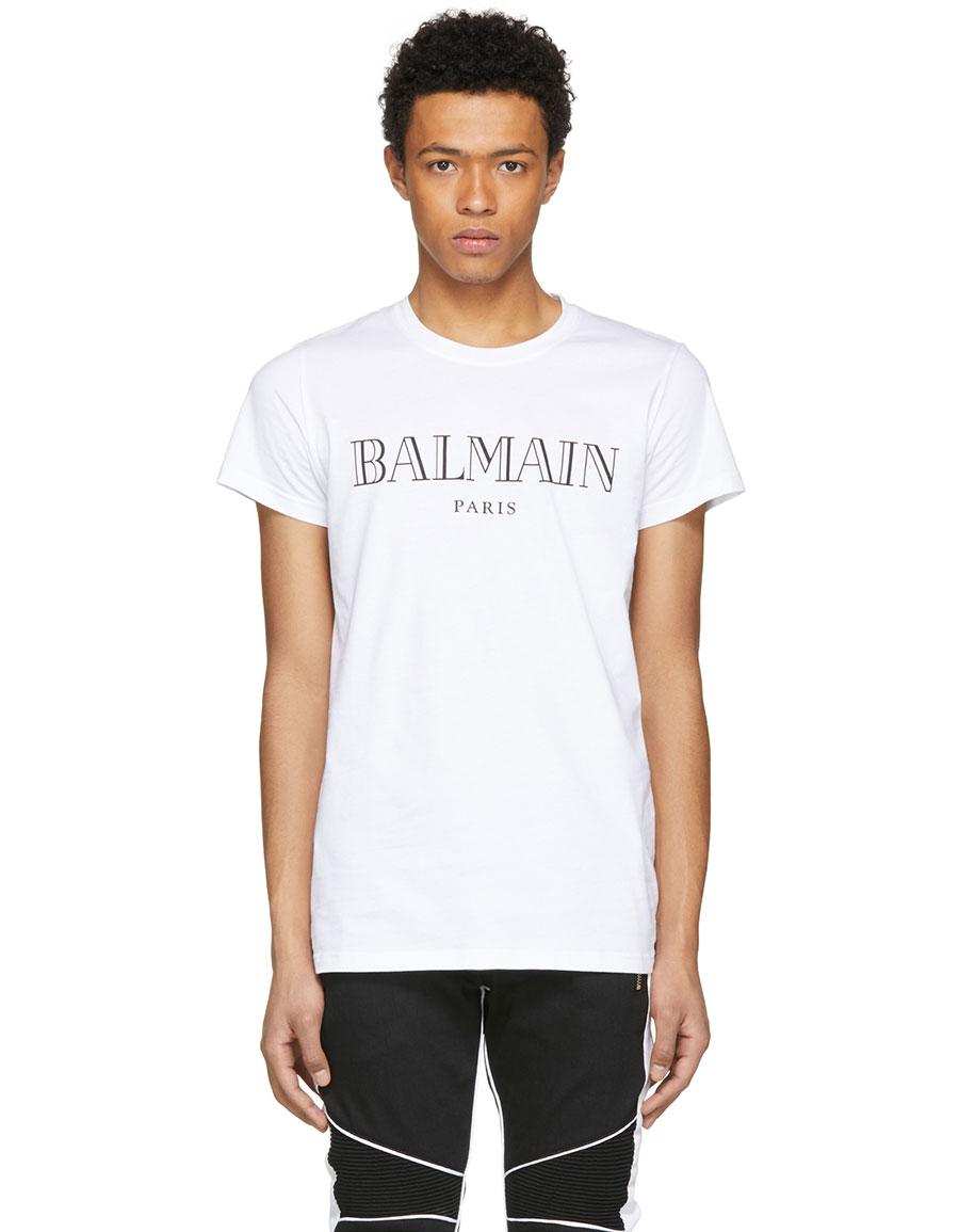 BALMAIN White Logo T Shirt