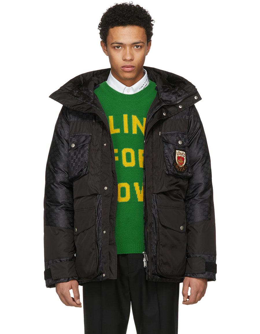 GUCCI Black Down GG Coat
