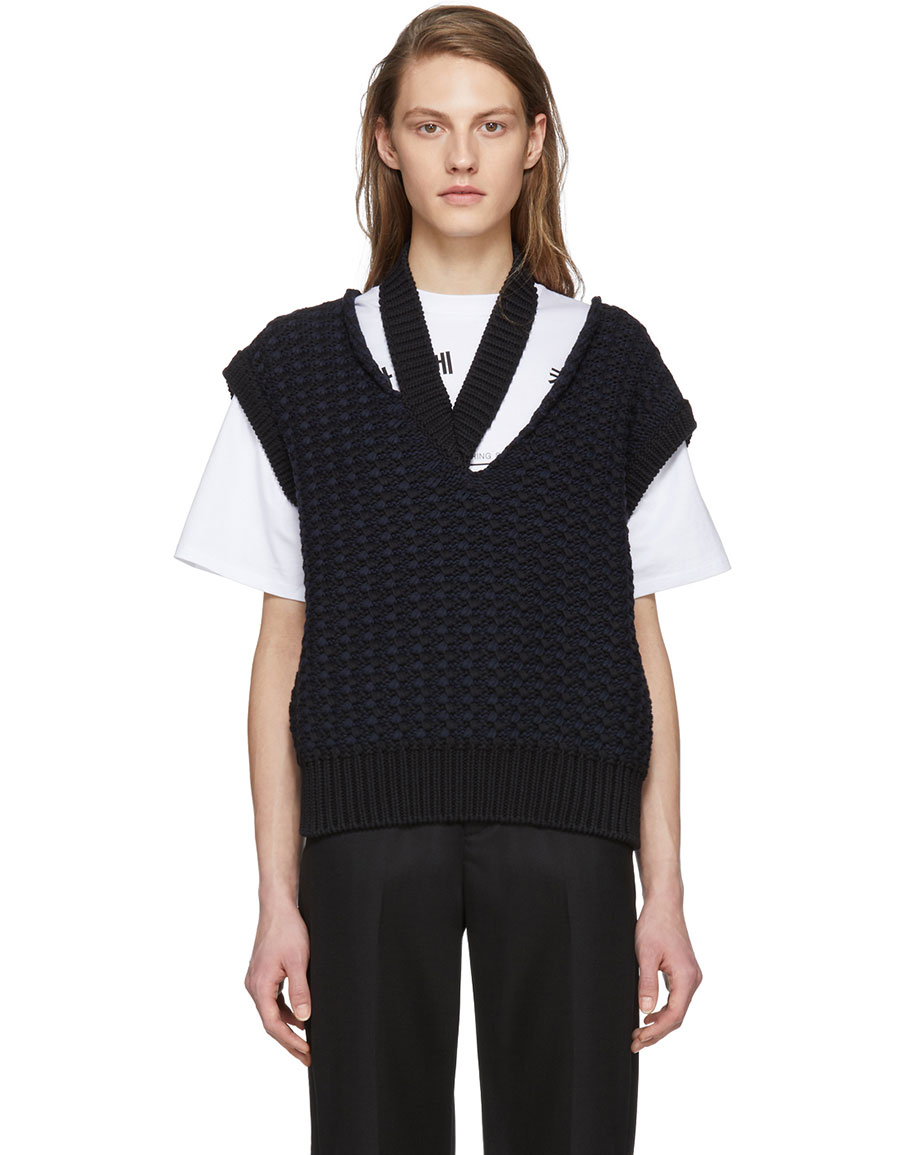 RAF SIMONS Black Cropped Knit Vest