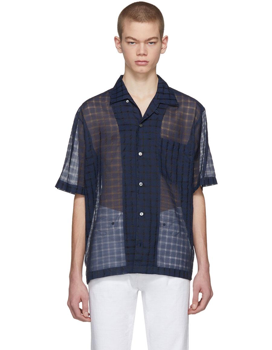STELLA MCCARTNEY Navy & Black Check Ron Shirt