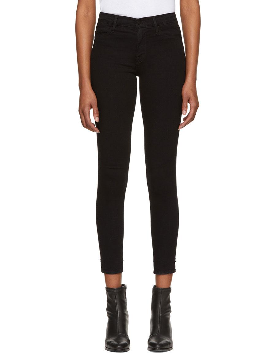 FRAME DENIM Black 'Le High Skinny' Jeans