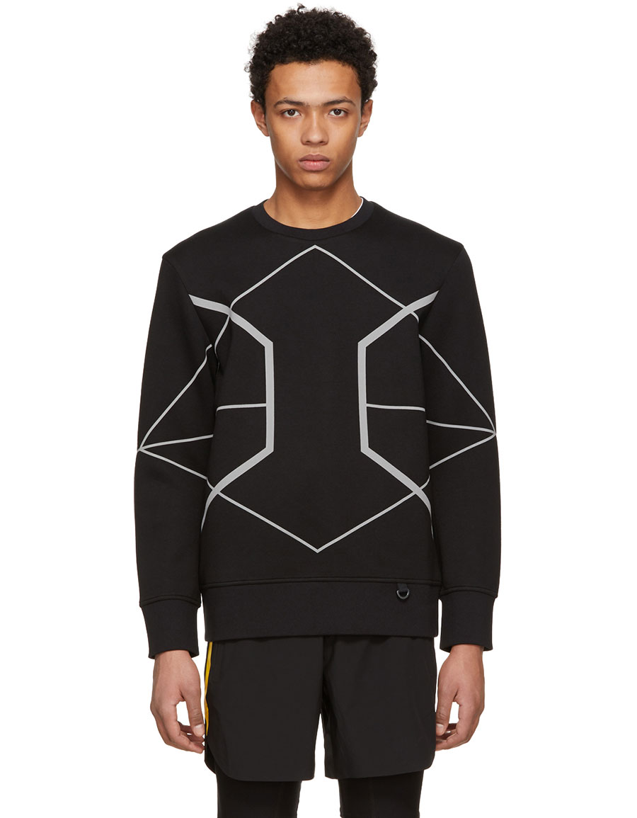NEIL BARRETT Black Reflective Symmetric Lines Sweatshirt