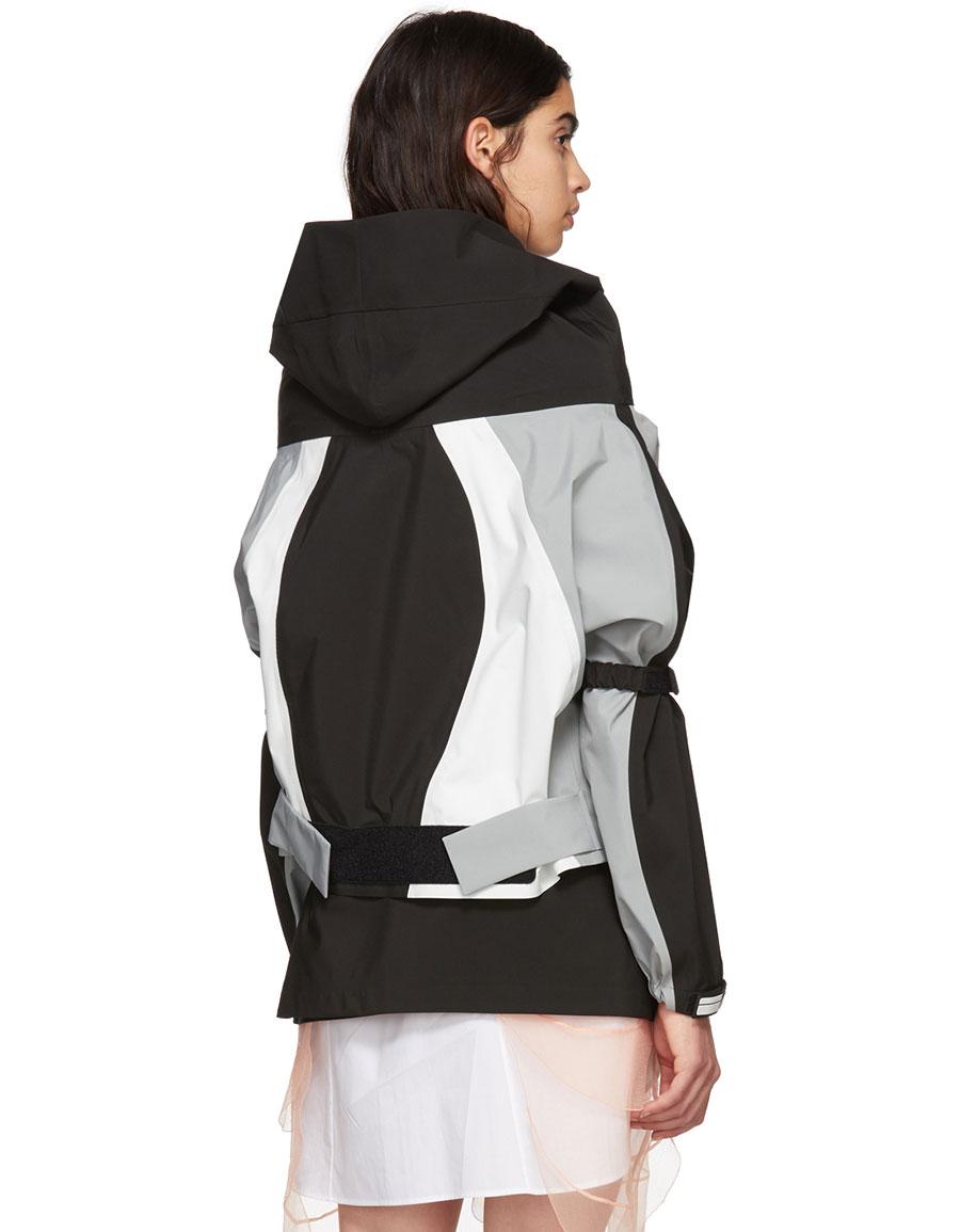 PRADA Black Cropped Colorblock Track Jacket