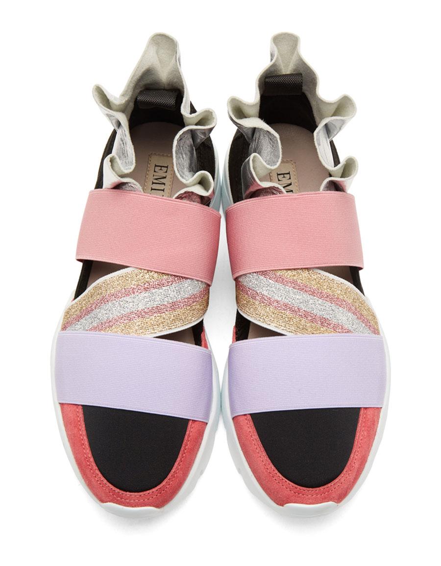 EMILIO PUCCI Pink & Black Metallic Ruffle Sneakers