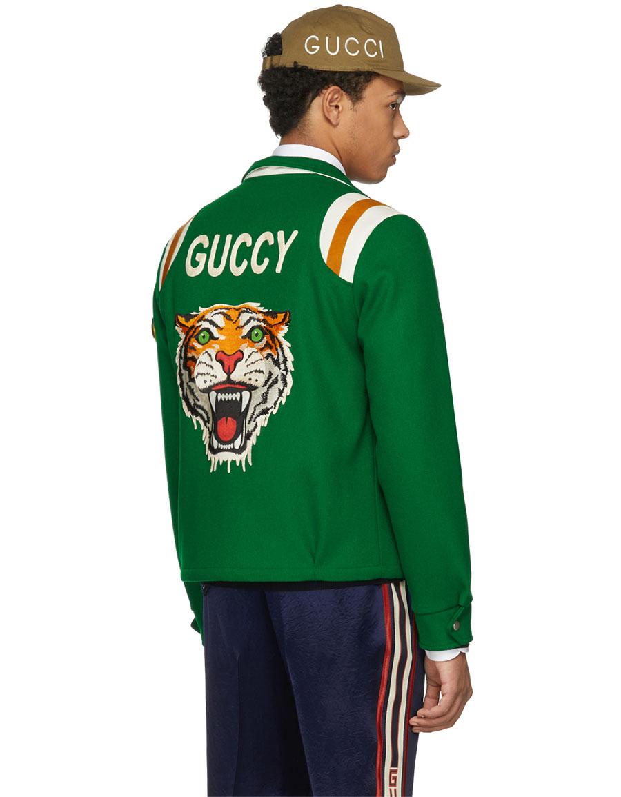 GUCCI Green 'Guccy' Tiger Felt Bomber Jacket