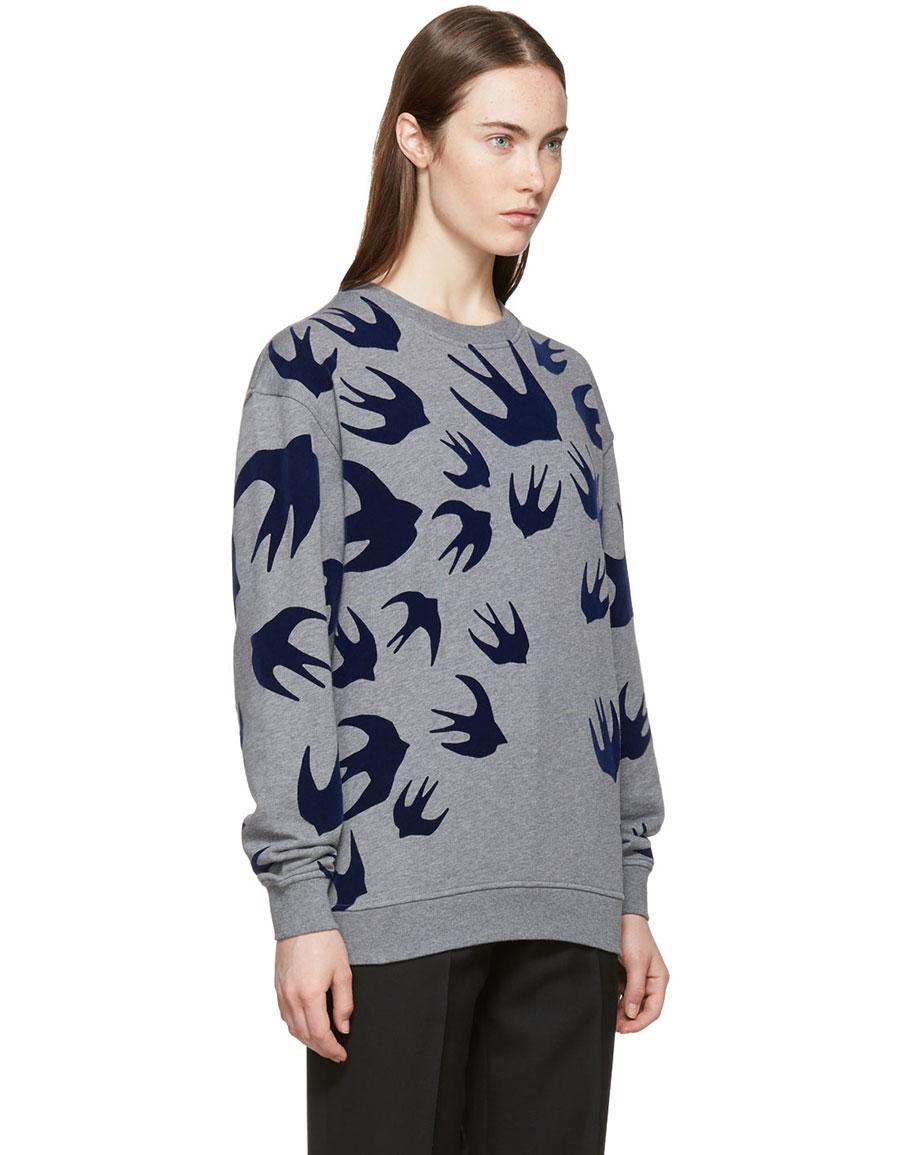 ALEXANDER MCQUEEN Grey Swallow Signature Sweatshirt