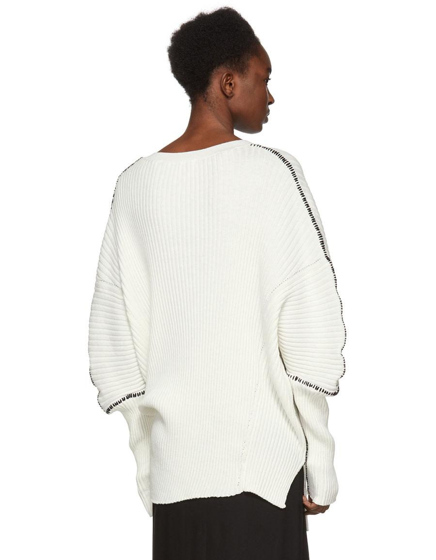 ANN DEMEULEMEESTER Off White Stitch Sweater