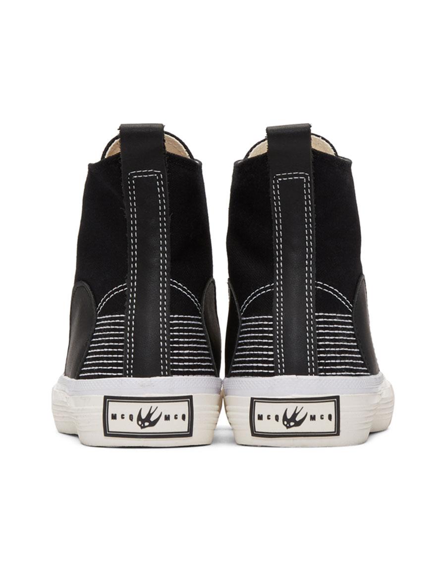 ALEXANDER MCQUEEN Black Plimsoll High Top Sneakers