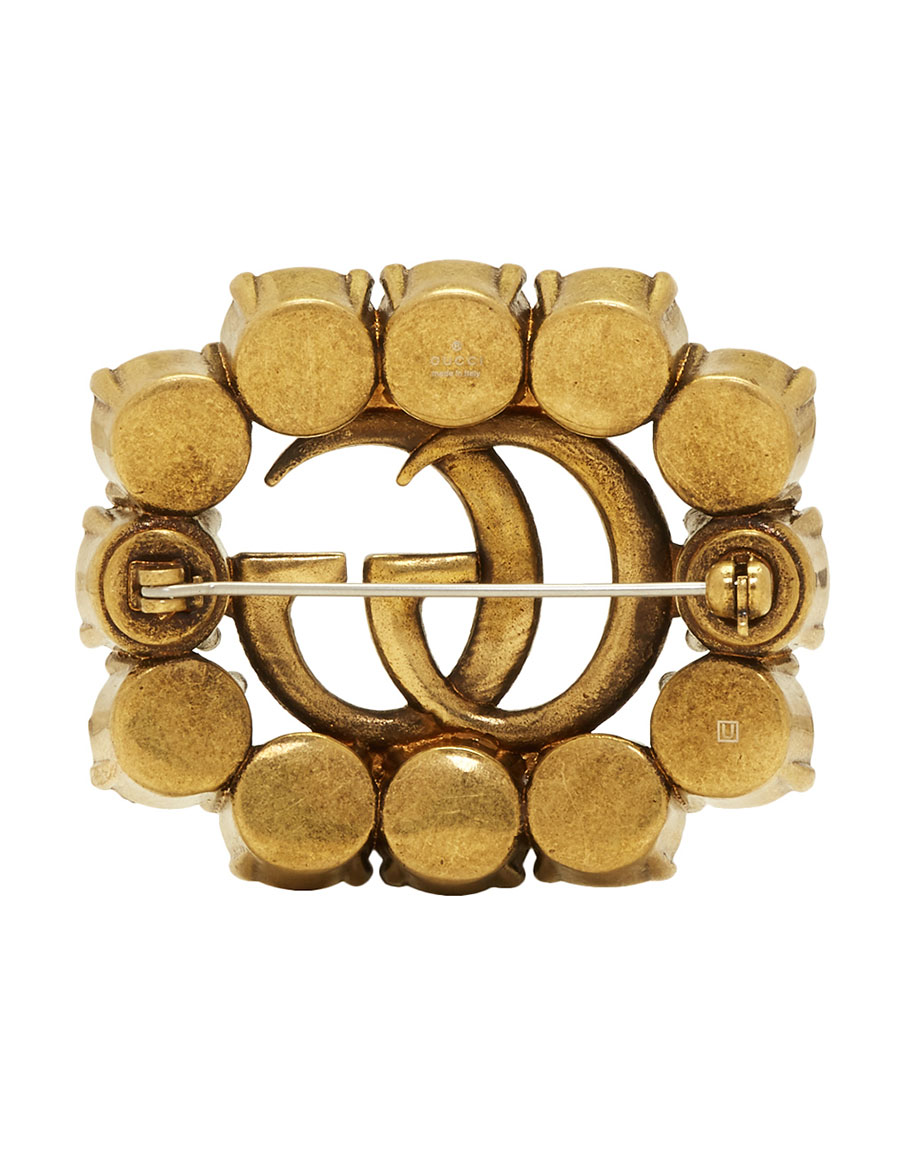 GUCCI Gold GG Crystal Marmont Brooch