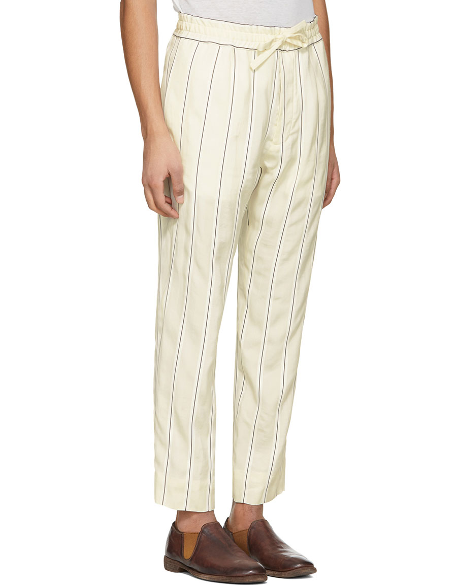 HAIDER ACKERMANN Off White Stripe Kunzite Trousers
