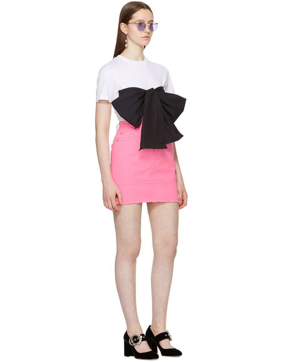MSGM SSENSE Exclusive White Contrast Bow T Shirt