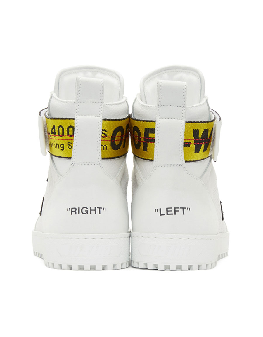OFF WHITE White Belt High Top Sneakers