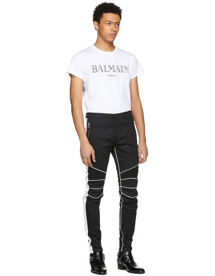 BALMAIN Black & White Slim Biker Jeans
