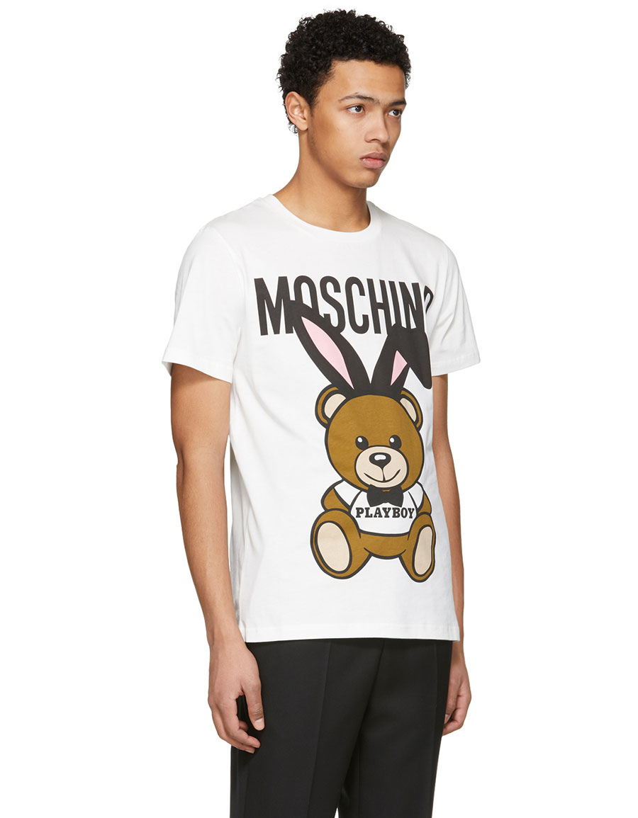 MOSCHINO White 'Playboy' Teddy Bear T Shirt